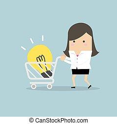 carting, inköp, lätt, idea., affärskvinna, lök