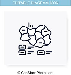 Cartogram line icon. Geographic, governmental and sociological, visualization. Infographic, presentation or planning scheme. Simple design. Isolated vector illustration. Editable stroke