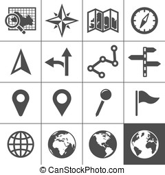 Cartography and topography vector icons - Cartography and...