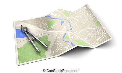 cartography - 3d illustration of cartography concept or...