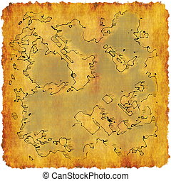 Cartography Cartoon Map on a Adventure Scroll