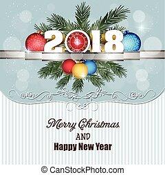 cartolina, 2018, allegro, anno, nuovo, natale, felice