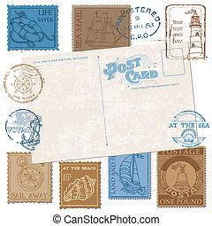 cartolina, -, alto, francobolli, vettore, disegno, retro, mare, album, qualità