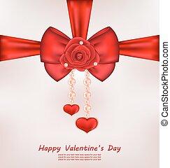 cartolina auguri, con, arco rosso, rosa, cuore, perle, per, valentines, d