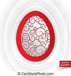 cartolina auguri, con, astratto, rosso, floreale, uovo