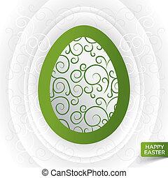 cartolina auguri, con, astratto, verde, floreale, uovo
