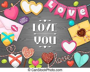 cartolina auguri, con, cuori, oggetti, decorations., concetto, lattina, essere, usato, per, giorno valentines, matrimonio, o, amore, confessione, messaggio