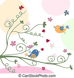 cartolina auguri, con, uccelli