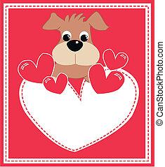 cartolina auguri, con, uno, carino, cucciolo