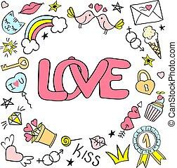 cartolina auguri, manifesto, con, amore, iscrizione, e, mano, disegnato, girly, doodles, per, giorno valentines, o, birthday.