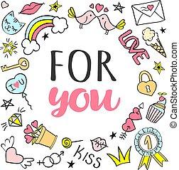 cartolina auguri, manifesto, con, lei, iscrizione, e, mano, disegnato, girly, doodles, per, giorno valentines, o, birthday.