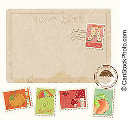 cartolina, -, autunno, francobolli, disegno, retro, invito, album