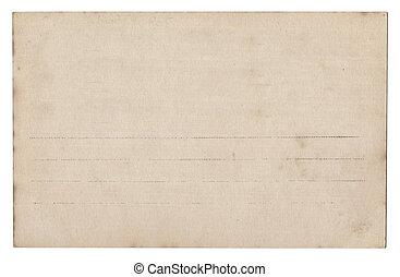 cartolina, bianco, vecchio, isolato, vuoto