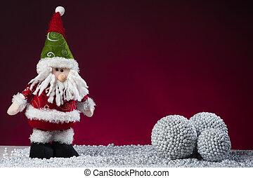 cartolina, claus, santa, anno, nuovo, rosso