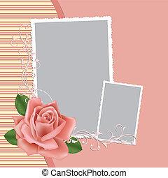 cartolina, cornice foto, vuoto, matrimonio, o