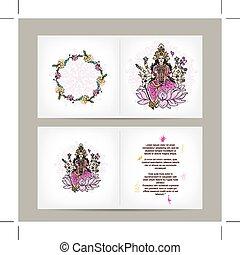 cartolina, dea, indiano, disegno, shakti