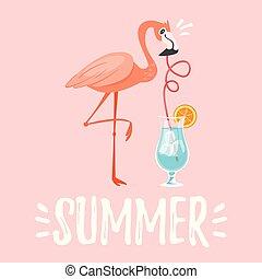 cartolina, estate, disegno, stagione