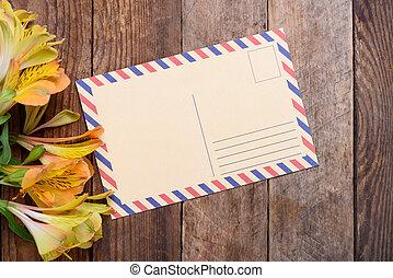 cartolina, fiori, retro