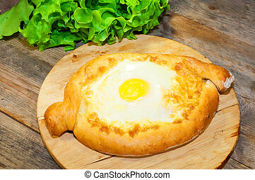 cartolina formaggio, khachapuri, bread, uovo, adjara