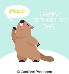 cartolina, groundhog, giorno