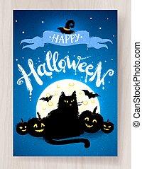 cartolina, halloween, disegno, felice