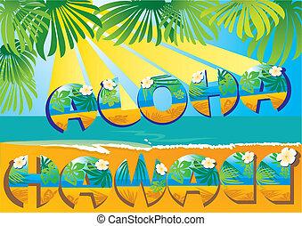 cartolina, hawai, aloha