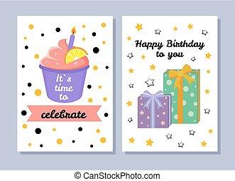 cartolina, illustrazione, vettore, tempo, relativo, celebrare