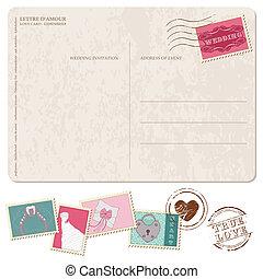 cartolina, invito, -, francobolli, disegno, retro, matrimonio, album