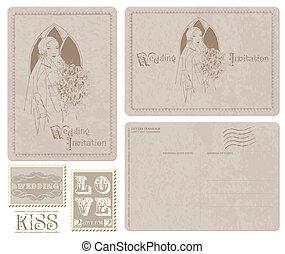 cartolina, invito, -, sposa, disegno, retro, matrimonio, album