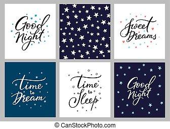 cartolina, iscrizione, buono, set, notte