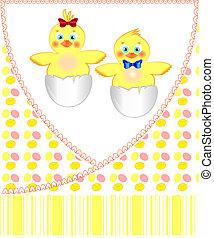 cartolina, neonato, gemelli, polli