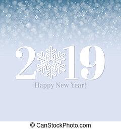 cartolina, nuovo, felice, 2019, anno