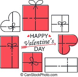 cartolina, regali, hearts., valentine