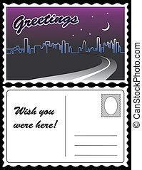 cartolina, skyline città, viaggiare, notte