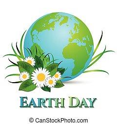 cartolina, su, aprile, 22, -, terra, day., globo, con, erba,...