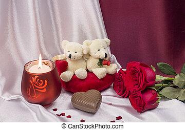 cartolina, su, giorno valentines, con, rose, e, bianco, orsi teddy
