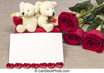cartolina, su, giorno valentines, con, rose, e, giocattolo
