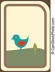 cartolina, uccello