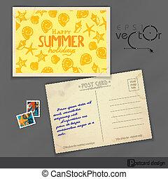 cartolina, vecchio, disegno, sagoma