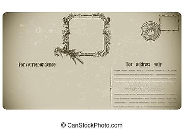 cartolina, vecchio, natale, frame.