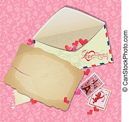 cartolina, vendemmia, backgrou, -, carta, francobolli, cuori, palo, busta