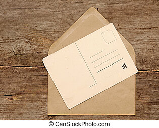 cartolina, vendemmia, busta, vuoto