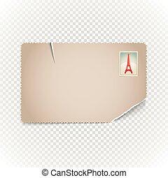 cartolina, vendemmia, contenuto, illustration., sagoma