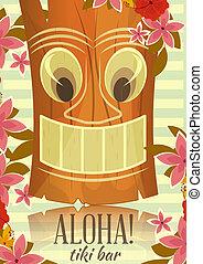 cartolina, vendemmia, hawaiano, tiki