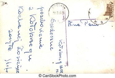 cartolina, vendemmia, messaggio, scritto mano