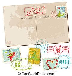 cartolina, vendemmia, -, natale, invito, francobolli, saluti, album, disegno