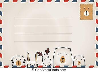 cartolina, vendemmia, progetta, francobolli