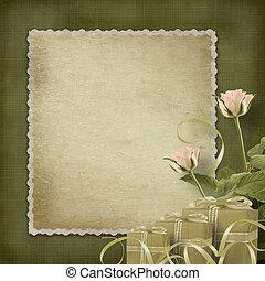 cartolina, vendemmia, rose, congratulazione, regali