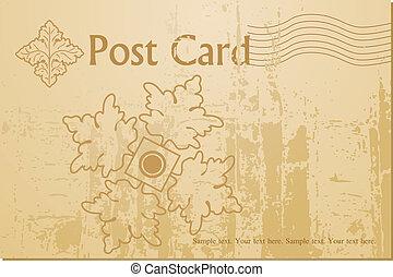cartolina, vendemmia, vettore, arte, vuoto