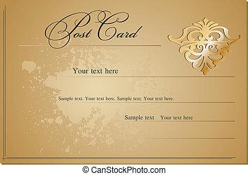 cartolina, vendemmia, vettore, vuoto